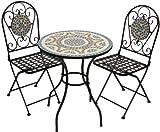 Woodside - Gartenmöbel-Set - Tisch und Klappstühle mit Mosaikdesign - Blau - Tisch: 60 x 70 cm (D x H). Gesamthöhe Stuhl: 94 cm. Sitzhöhe: 47 cm. Breite: 37 cm. Tiefe: 40 cm