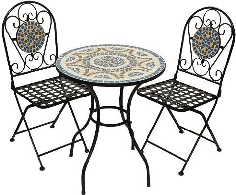 Woodside - Set table de jardin et chaises pliantes - motif mosaïque - Bleu