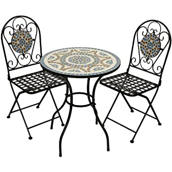 designer mosaik bistro set metall pulverbeschichtet bistro set gartenm bel balkon. Black Bedroom Furniture Sets. Home Design Ideas