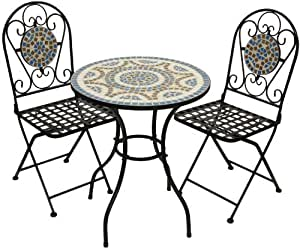 woodside gartenm bel set tisch und klappst hle mit mosaikdesign blau tisch 60 x 70 cm. Black Bedroom Furniture Sets. Home Design Ideas