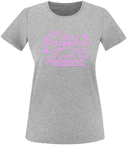 EZYshirt® Ein Engel ohne Flügel nennt man Hebamme Damen Rundhals T-Shirt Grau/Rosa