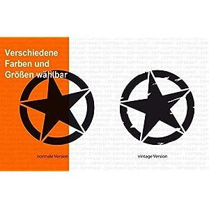 Army Stern Aufkleber/Vintage Star/verschiedene Versionen, Sticker für Motorrad, Camper Bus Offroad 4×4 Wohnmobil Boot…