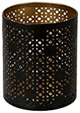 Le Chat 1182326 01182326 Photophore métal ajouré de Couleur Or et Noir, 7 x 7 x 8,5 cm