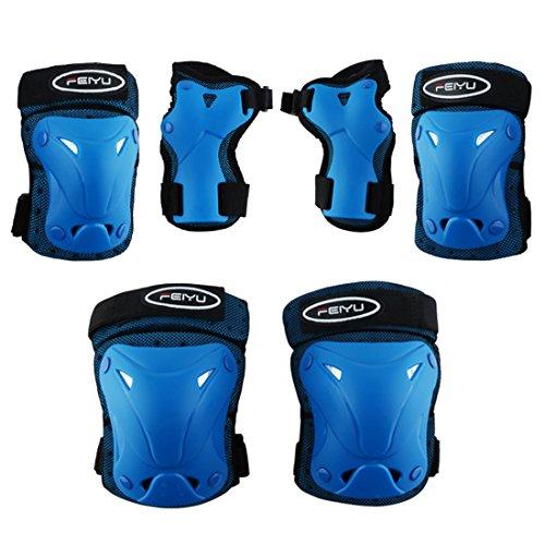 Haunen Kinder Protektorenset, 6 Stücke Knieschoner, Ellenbogenschoner Handgelenkschoner Schutzausrüstungen Set für Scooter Skateboard/Radfahren/Inline-Rollschuh/Reiten (Blau, S)
