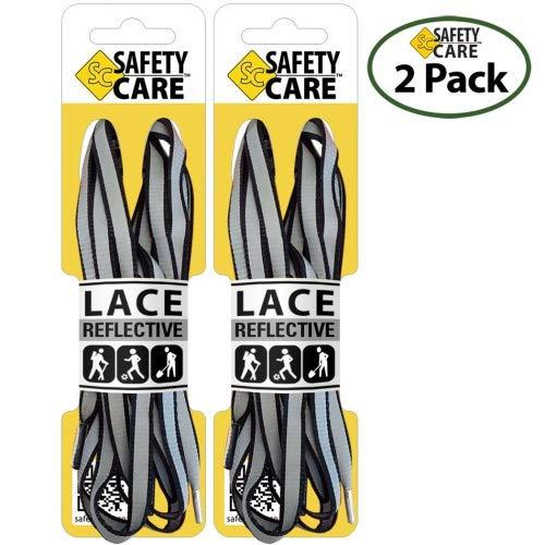 SafetyCare reflektierende Schnürsenkel, hohe Sichtbarkeit,91cm, schwarz/grau,2Paar