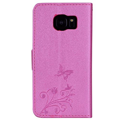 Surakey Coque Galaxy S7 Edge,Fleur de Papillon Motif Cristal Glitter Strass PU Cuir Case à rabat Coque Portefeuille Housse Flip Wallet Case Magnétique Étui pour Samsung Galaxy S7 Edge, Rouge