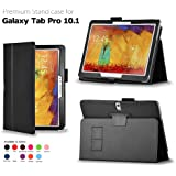 iZKA® - Samsung Galaxy Tab Pro 12.2 Leather Case Cover with Integrated Viewing Stand Typing Case + Scratch Resistant Screen Protector + Stylus Touch Screen Pen - Black
