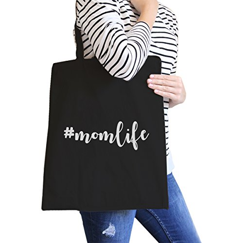 365 Printing inc , Borsa da spiaggia  Donna Momlife - Natural Momlife - Black