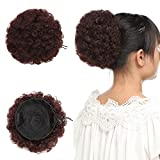 Postiche Afro Queue de Cheval Chignon Afro Naturel [Curly Mini] Touche Soyeuse - Auburn Clair