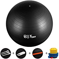 BSTPOWER Yoga Ball Anti-Slip, Anti-Burst Exercise Ball Heavy Duty Stability Ball Supports 2200lbs, Birthing Ball with Resistance Bands and Quick Pump