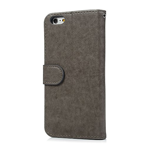 iPhone 6 Coque, iPhone 6S Coque, Bookstyle Étui Licorne Housse Imprimé en PU Cuir Case à rabat Coque de Protection Portefeuille TPU Silicone Case pour iPhone 6/ iPhone 6S - Rose Gold Grey