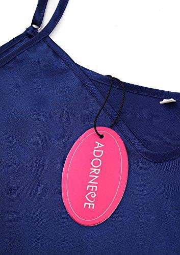 ADORNEVE Damen Nachtkleid Einfarbig Straps Glatt Nachthemd Dunkelblau