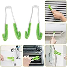 Rachees 2Pcs Car Air Conditioning Outlet Instrument Desk Blade Clean Brush Window Blinds Fan Cleaning Clip Soft Brushes Dust Clean Tool