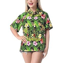 HAPPY BAY blusa hawaiano de la hawaiana del hibisco mujeres de cuello con botones en el impreso floral Negro_AA92 S - ES Tamaño :- 42 - 44