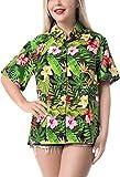 HAPPY BAY Camisa más tamaño botón hacia Arriba Hibisco de Las Mujeres Blusa de Flores Hawaiana Playa Impresa Negro_AA92 L - ES Tamaño :- 46-48