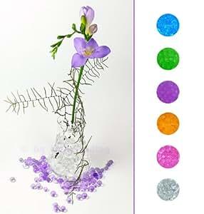 1 Liter Eimer aus Kunststoff mit Deckel Deko Hydro Wasser Perlen Kugeln künstliche Blumenerde Aquaperls Aqualinos zum Dekorieren lila