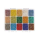 PandaHall Elite Cuentas de Cristal para Semillas, 15 Mixed Colors, 8/0 3mm
