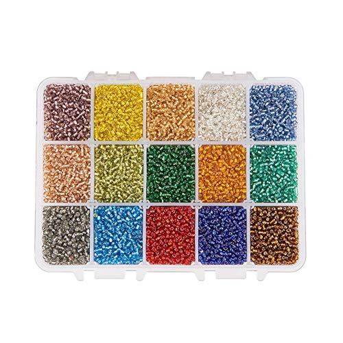PH PandaHall Über 500pcs 15 Farbe 8/0 Glas Rocailles 3mm Silber ausgekleidet Perlen mit Container Box für Schmuck Machen