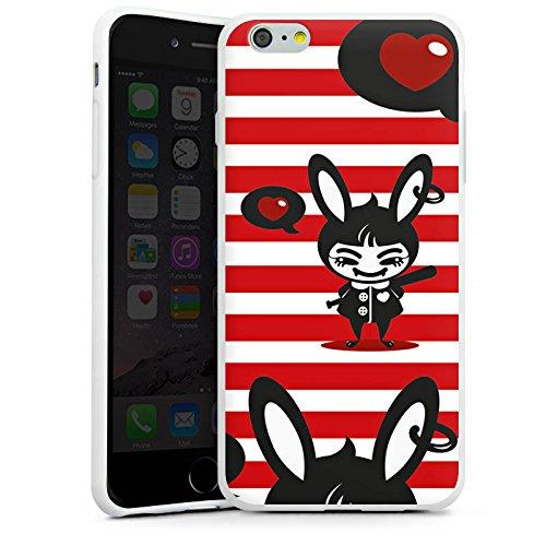 Apple iPhone X Silikon Hülle Case Schutzhülle Hase Bunny Streifen Silikon Case weiß