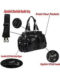 XENSA Genuine LEATHERite Stylish Large Travel Tote Oversized DUFFLE Luggage Bag 65 LTR-Black-#Shetty Group