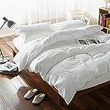 Lausonhouse - Biancheria da letto, 100% lino, stile vintage, lavata, bianco, 155x220+80x80cm