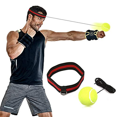 SGODDE Boxen Training Ball, Reflex Fightball, Speed Fitness Punch Boxing Ball mit Kopfband, Trainingsgerät Speedball für Boxtraining Zuhause und Outdoor (Gelb) - Kopf Boxen