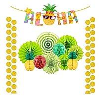 TsLinc Summer Party Decoration Set Hanging Paper Fans Pineapple and Flamingo Flower Garland Banner for Hawaiian Luau Beach Birthday Wedding Photo Backdrop