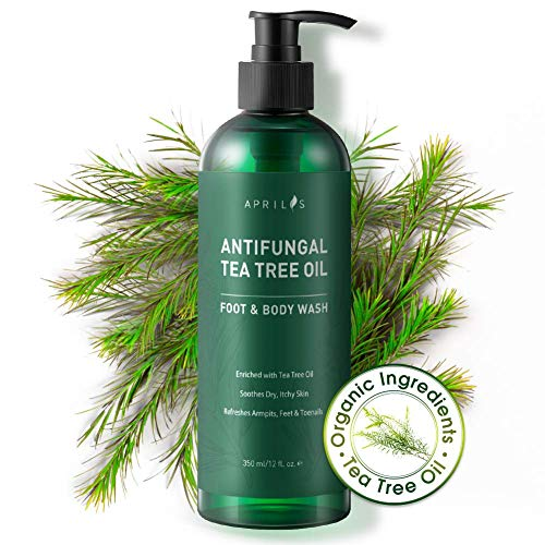Aprilis Antifungal Tea Tree Oil Body Wash, Shower Gel | Helps Relieve Athlete's Foot, Ringworm, Toenail Fungus, Jock Itch, Acne, Eczema & Body Odor, Aprilis Antibacterial Soap - Soothes Itching & Promotes Healthy Feet, Skin and Nails | 12 fl. oz.