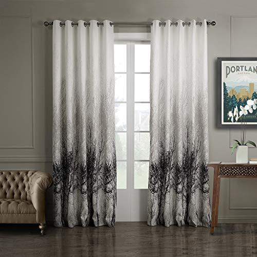 GWELL Elegant Baumblatt Druck Vorhang Blickdicht Schal mit Ösen TOP QUALITÄT Gardine für Wohnzimmer Schlafzimmer grau cream 1er-Pack (Wohnzimmer-gardinen Elegante)