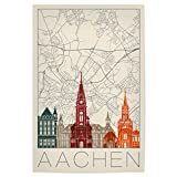 artboxONE Poster 90x60 cm Städte Retro Map Aachen and
