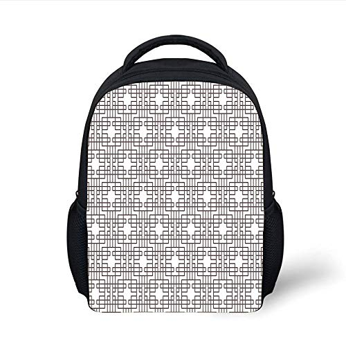 Kids School Backpack Geometric,Grid Style Eastern Asian Pattern with Geometrical Squares and Rectangles Print Decorative,Umber White Plain Bookbag Travel Daypack