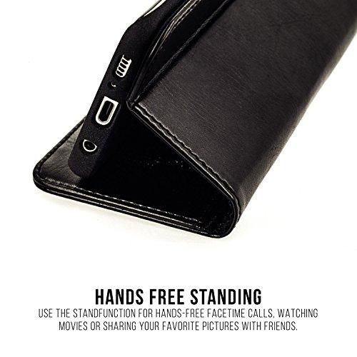 """Apple iPhone 6 Plus / 6S Plus / 7 Plus / 8 Plus (5,5"""") Ledertasche, QIOTTI Folio Leder Wallet Case mit [ RFID Schutz Blocking ] [ Standfunktion ] [ Kreditkarten Fächer ] [ Magnetverschluss ] (ROSA) WEISS"""