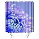 HUIYIYANG Benutzerdefinierte Duschvorhang, Blaue helle Chrysantheme Beschaffenheits Blumen Schönheit Wasserdichter Anti Mehltau Gewebe Polyester Duschvorhang für Badezimmer 48
