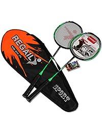 Badminton Raqueta Fibra De Carbono Profesional, Raqueta Aire Libre Deportiva Ligera, 2 Raquetas De Práctica Juego De Jugador Incluyendo 2 Raquetas / 1 Bolsa De Transporte,Green