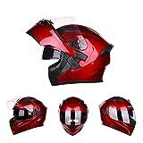 Lidauto Motorradhelme Street Bikes Half Gesichtsschutz Whit Doppelobjektiv,Red,M