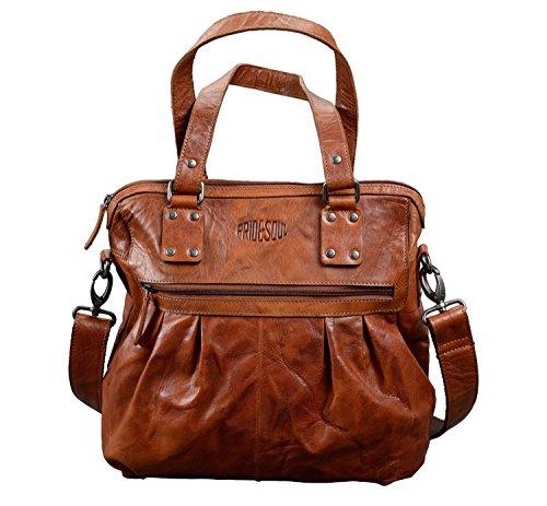 Pride and Soul Damen Damentasche Holly, Henkel-Handtasche Leder Sporttasche, Cognac, 35 cm