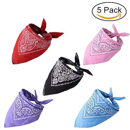 HOMIMP - 5 pañuelos para Perro, diseño de Cachemira con triángulo, tamaño Mediano y Grande