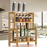 étagère à épices Porte-épices à 2 niveaux en bambou pour cuisine ou assaisonnement