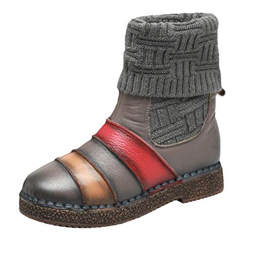 Vogstyle Damen Herbst Winter Neue Warm Schneestiefel Baumwolle Strick Stiefel Retro Leder Schuhe Kontrastfarbe Grau EU 38=Asian 39 (Damen Stiefel Winter Neue)