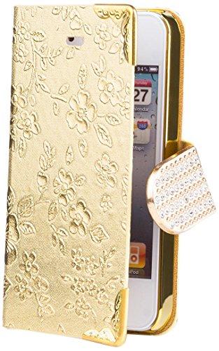 iCues Apple iPhone 4/4S |  Chrom Blumen Tasche Pink | [Display Schutzfolie Inklusive] Floral Strass Glitzer Glitter Luxus Bling Damen Frauen Mädchen Chrome Book Klapphülle Schutz Etui Handytasche zum  Chrome Wallet Gold