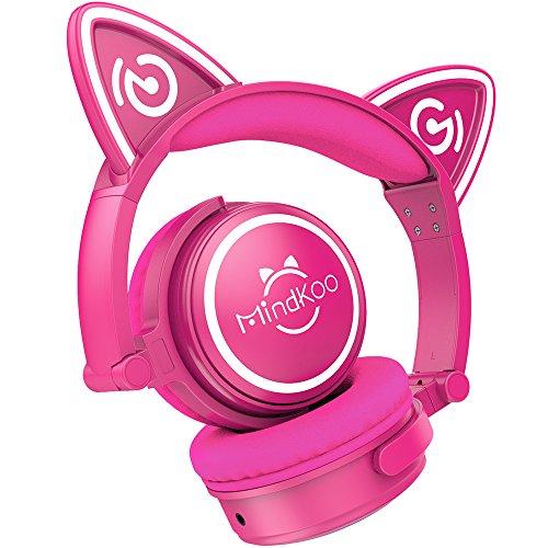 {Auriculares Inalámbricos de Gato Oreja} MindKoo MH-6 Auriculares Diadema Bluetooth 4.2 Manos Libres Casco Cosplay Regalo Navidad Plegable de LED Luz para Jóvenes Niños for iOS iPhone x,8/Plus Android