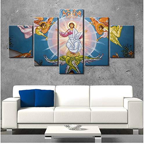 chthsx Gemälde auf Leinwand Jesus Christentum Poster und Drucke Wandkunst Religion Bilder Wanddekoration 5 STK Wohnkultur -40x60 40x80 40x100cm Kein Rahmen