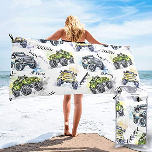 Hand Drawn Watercolored Monster Trucks Enormous Wheels Off Road Lifestyle Bath Swimming Pool Yoga Pilates Picnic Blanket Beach Towels 27.5
