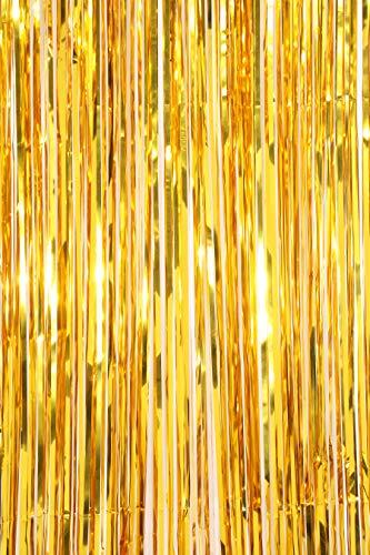 hänge 1920s Gatsby Party Deko Metallic Fringe Vorhänge Photo Booth Lametta Hintergrund Gold Schimmer Vorhang Geburtstag Dekoration (Gold - 1 Stück) ()