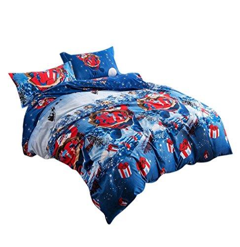 Koly La Navidad 4 PC a la hoja de cama de lino textil hogar de Navidad Juego de cama edredón de cama Fundas de almohadas,4 Colores-B