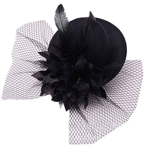 Damen Fascinator Hut Blumen Haar Clip Feder Burlesque Punk Mini Hut (Hut Mini Top Schleier Mit)
