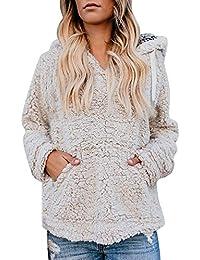 Yvelands Mujeres Casual Bolsillo con Capucha suéter Superior Fleece Manga Larga Pullover Blusa Camisas Sudadera