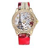 Damen Uhren,Kimdera Damen Quarts Uhr Mode analog Legierung Armbanduhr geschäft beiläufig Bralette Geschenk, rundes zifferblatt Luxus Leder Uhren (rot)