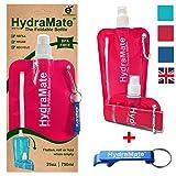 Faltbare, wiederverwendbare Wasserflasche. BPA-frei, 750ml. HydraMate Leichte, umweltfreundliche, nachfüllbare Flasche mit Sportverschluss und hygienischem Deckel. Mit Karabiner und Flaschenöffner! (Magenta, 750 ml)