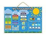 Magnetic My First Calendar: Juguete magnético educativo infantil con botones gruesos para pequeños dedos (idioma español no garantizado) para enseñar a tu hijo el calendario, la meteorología y las estaciones con láminas para colorear colgantes y descargables